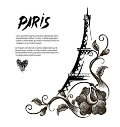 Eiffel tower with patterns hand drawn vector