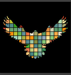 Falcon hawk bird mosaic color silhouette animal vector