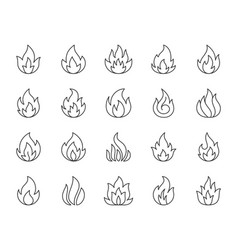 fire simple black line icons set vector image