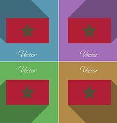 Flags Morocco Set of colors flat design and long vector image