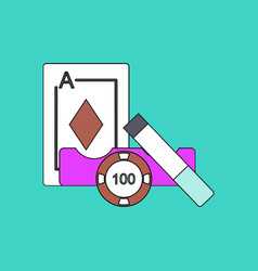 Flat icon design collection ace chip and cigar vector
