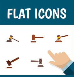 Flat icon lawyer set of court legal justice and vector