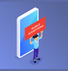 flat isometric mobile advertising concept man vector image