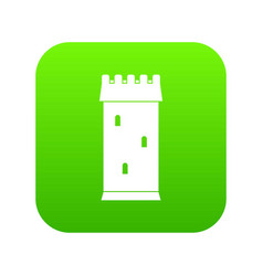 Fortress tower icon digital green vector