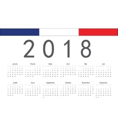 French 2018 year calendar vector image