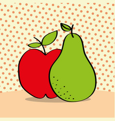 fresh apple and pear on dotted background vector image