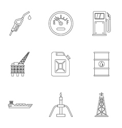 Gasoline icons set outline style vector