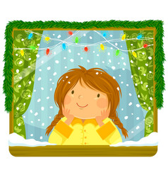 girl looking at snow through the window vector image