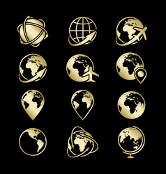 golden globe earth icons collection on black vector image