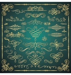 Golden Luxury Glossy Vintage Swirls vector