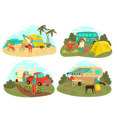 grandparents travelling eldery tourism set of vector image