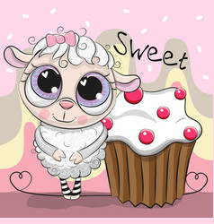 Greeting card cute sheep with cake vector