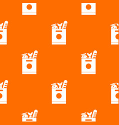 grocery bag with food pattern seamless vector image