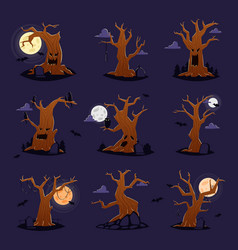 Halloween tree scary character treetops of vector