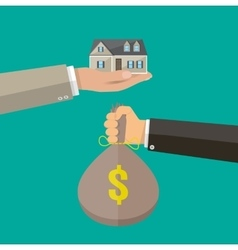 Hands with money bag and house Real estate vector image
