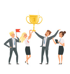 happy business team with golden trophy vector image