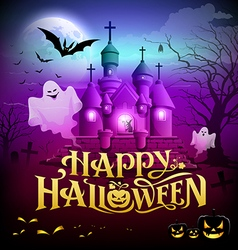 Happy halloween gold lettering castle with ghosts vector