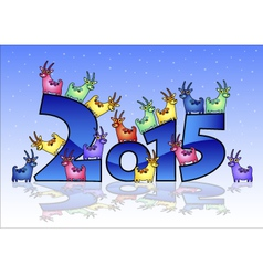Happy New Year 2015 card with goats vector image