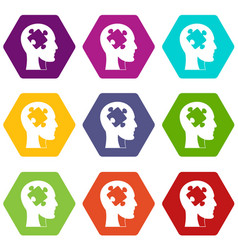 head with puzzle icon set color hexahedron vector image