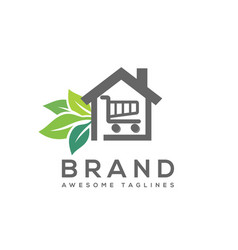 home with shopping trolley and leaf symbol vector image