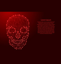 human skull front from futuristic polygonal red vector image