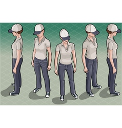 Isometric Service Woman in Five Positions vector