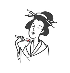 Japanese woman eating sushi vector image