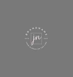Jn letter feminine logo design vector
