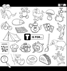 Letter t words educational task coloring book page vector