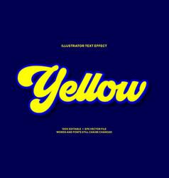 Light yellow and deep blue 3d text effect vector