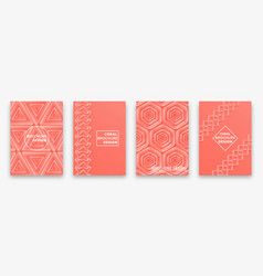 living coral trendy backgrounds with impossible vector image