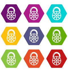 lock modern icons set 9 vector image