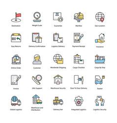 Logistics delivery flat icons vector