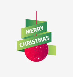 merry christmas red christmas ball with green vector image