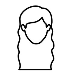 Monochrome contour of faceless woman with wavy vector