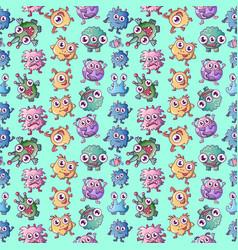 monster pattern seamless cartoon style vector image