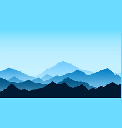 Mountains view in blue colors travel and tourism vector