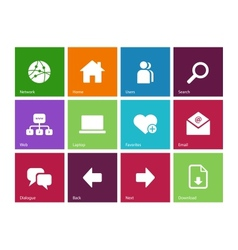 Network icons on color background vector image