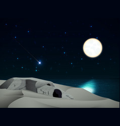 Night landscape with a ruined castle on the beach vector