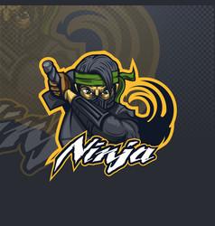 ninja with a green bandana attacker esport or team vector image