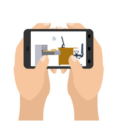 office on tablet game business in a smartphone vector image