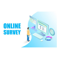 online survey web banner design template vector image