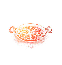 paella national seafood rice dish spiced with vector image