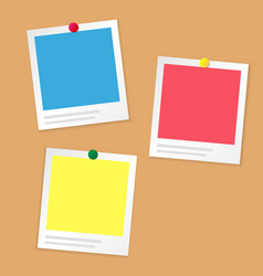 Paper photo frame on brown information board or vector