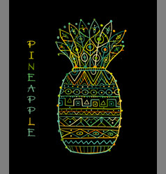 pineapple ethnic ornament sketch for your design vector image