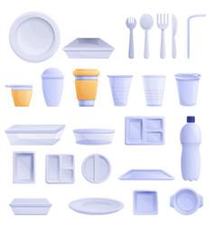 Plastic tableware icons set cartoon style vector