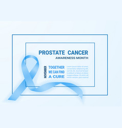 realistic blue ribbon symbol of prostate cancer vector image