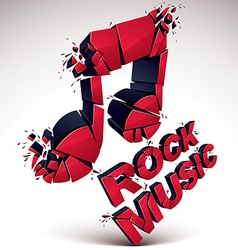 Red 3d musical note broken into pieces explosion vector