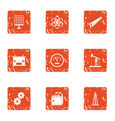 Research advisor icons set grunge style vector