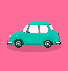 Retro car isolated on colorful background vector
